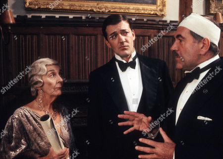 Patricia Lawrence as Aunt Dahlia, Stephen Fry as Jeeves and John Turner as Spode. Spode tries to wrest a stolen painting from Aunt Dahlia