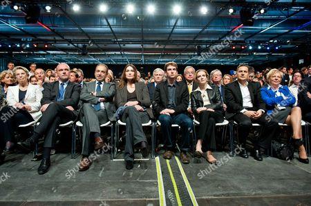 Michele Alliot-Marie, Jean-Francois Coppe, Carla Bruni-Sarkozy, Alain Juppe, Nathalie Kosciusko-Morizet and Eric Besson.