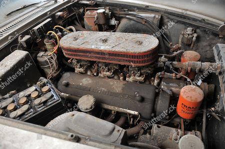 Stock Image of Engine of the 1961 Ferrari 250 GTE car