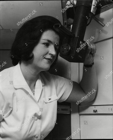 Susan Graham Boac Stewardess Looks Through Periscope On Airliner To Check Engines 1964.