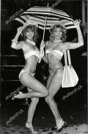 Jane Warner And Helle Models In Bikinis Under Umbrella 1984.