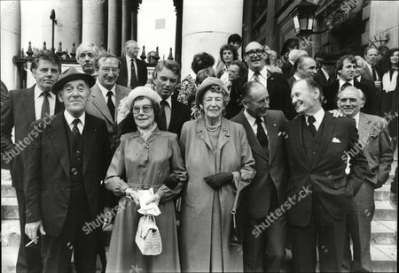 Thanksgiving Service For Actor Jack Warner (dixon Of Dock Green); Shows Tommy Trinder- Comedian Jack's Widow Mollie Warner And His Sister Elsie Waters Peter Brough- Radio Ventriloquist Bernard Breslaw Richard Murdocch Sam Kydd And Peter Byrne (all Actors) 1981.