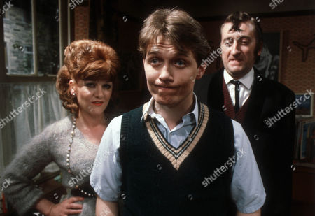 Stock Image of Deirdre Costello as Mrs Buckley, Steven Pinder as Owen Buckley and Philip Jackson as Mr Buckley