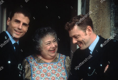 Stock Photo of Jason Durr as PC Mike Bradley, Patsy Byrne as Martha Coutts and Mark Jordon as PC Phil Bellamy