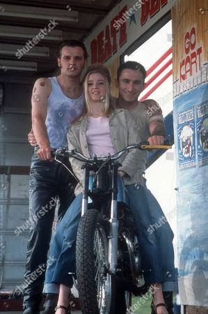 Stock Picture of David Groves as Dirk, Lindsey Fawcett as Tracey Knight and Daniel Caltagirone as Liam