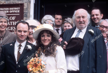 Stock Picture of Mark Womack as Keith Megson, Mary Tamm as Marilyn and Bill Maynard as Claude Jeremiah Greengrass