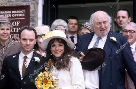 Stock Image of Mark Womack as Keith Megson, Mary Tamm as Marilyn and Bill Maynard as Claude Jeremiah Greengrass