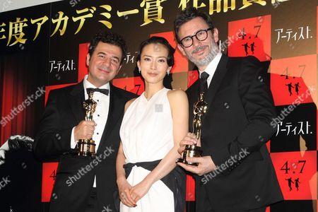 Stock Image of Ludovic Bource, Miki Nakatani and Michel Hazanavicius