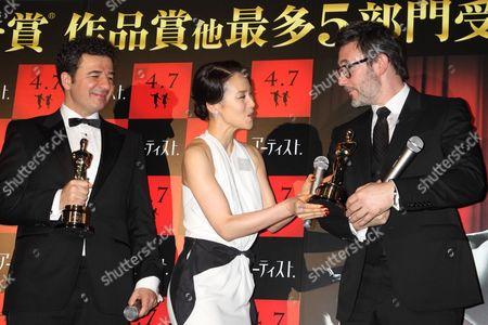Stock Photo of Ludovic Bource, Miki Nakatani and Michel Hazanavicius