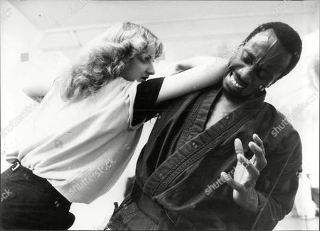 Sara Barrett Journalist In Action With Self-defence Instructor Tyrone White 1983.