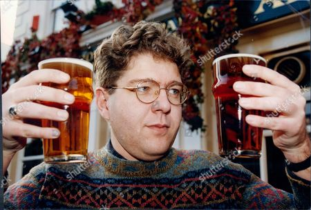 Ashley Holmes (no Further Details) Holding Pints Of Beer For Survey 1993.
