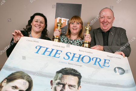 Stock Picture of QFT Manager Susan Picken (c), joins Northern Ireland's Oscar Award winning duo Terry George and Oorlagh George