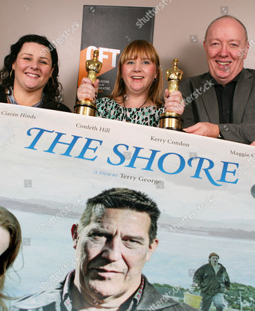 QFT Manager Susan Picken, (c) joins Northern Ireland's Oscar Award winning duo Terry George and his daughter Oorlagh George