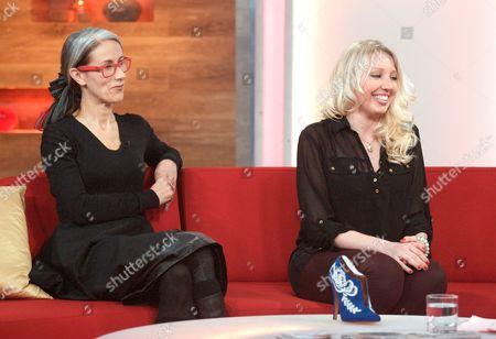 Caryn Franklin and Becka [Rebecca] Hunt (royal shoe design winner)