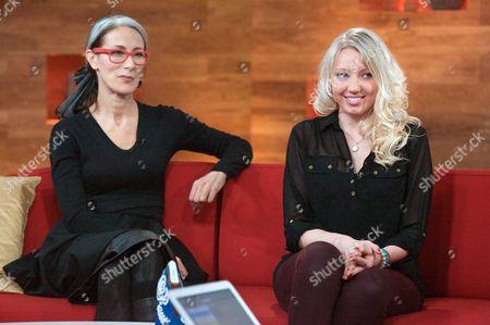 Stock Image of Caryn Franklin and Becka [Rebecca] Hunt (royal shoe design winner)