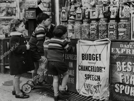 Children Looking At Sweets In A Sweet Shop. Pictured Are Jimmy Garth Aged 7 And His Brother David Garth Aged 5