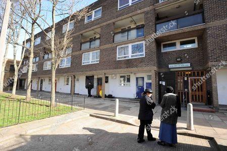 Police at Gemma McCluskie's home in Pelter Street, London
