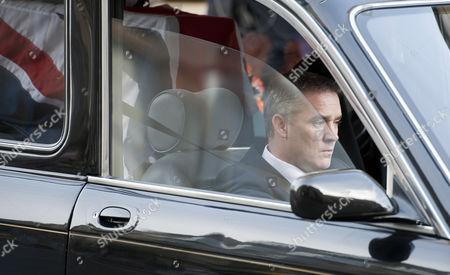 Darren Rathband, brother of PC David Rathband, driving the hearse away from Newcastle Cathedral