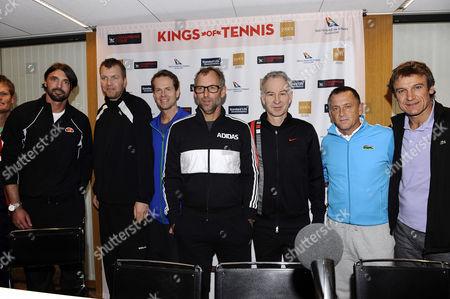 Goran Ivanisevic, Magnus Larsson, Stefan Edberg, Thomas Muster, John McEnroe, Mikael Pernfors, Mats Wilander