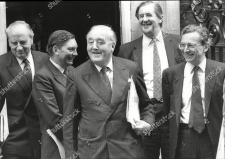 Lord David Young Paul Channon Lord William Whitelaw Michael Jopling And Norman Fowler Conservative Cabinet Ministers Outside 10 Downing Street 1987.