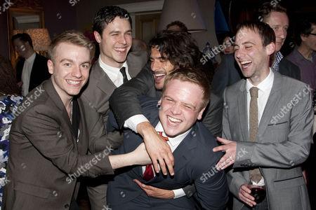 Steven Webb, Philip Correia, Marc Elliot, Owain Arthur (Francis Henshall) and David Poynor