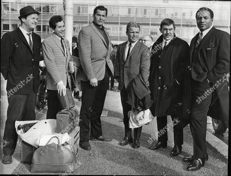 Six American Actors To Star In The Film 'the Dirty Dozen' Arrive In London L-r Ralph Meeker Trini Lopez Clint Walker Richard Jaeckel Robert Phillips And Jim Brown