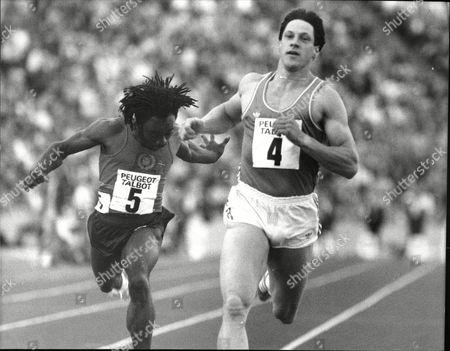 Athlete Allan Wells In Action Winning 100m Sprint