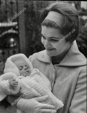 Daphne Weston (mrs David Weston) With Her Baby Son Anthony Douglas Weston Outside Home Of Her Father Actor Douglas Fairbnks Jr The Boltons Kensington London