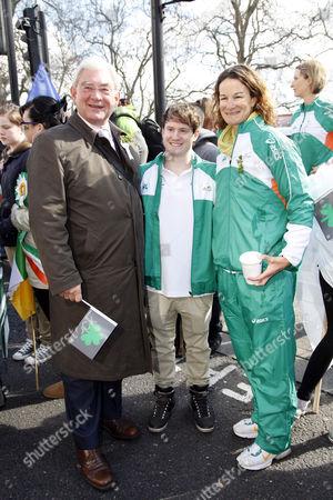 Deputy London Mayor Richard Barnes, Sonia O'Sullivan and Kieran Behan