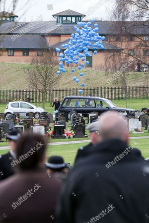 190 blue balloons are released in honour of PC Rathband's call sign (Tango 190) and the Blue Lamp Foundation
