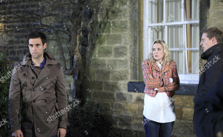 Stock Picture of Ryan Lamb [James Sutton], Nikhil Sharma [Rik Mararem] say their goodbyes to Will Wylde [Oscar Lloyd] and Maisie Wylde [Alice Coulthard]. Belle Dingle [Eden Taylor-Draper] and will say they love each other