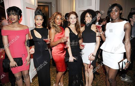 Tiana Benjamin, Dominique Tipper, Lorraine Burroughs, Lily James and Hannah Frankson and Lashana Lynch