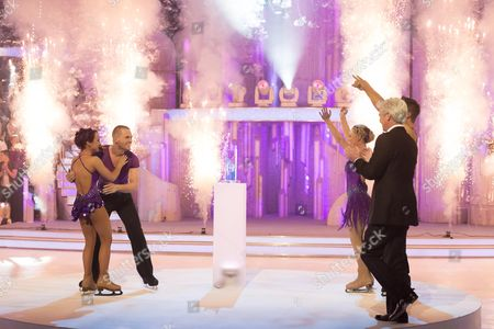 Nina Ulanova and Matthew Wolfenden win 'Dancing On Ice' 2012 also in picture is Presenter Phillip Schofield and the Runners Up Jorgie Porter and Matt Evers