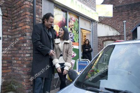 Amber Kalirai [Nikki Patel]  is thrilled when Dev Alahan [Jimmi Harkishin] gives her a car for her birthday - Sunita Alahan [Shobna Gulati] looks on.