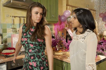 The hen partys underway Sally Webster makes a speech and everything is going well  the guests  toast Sian and Sophie. Amber Kalirai [Nikki Patel]  makes a move on Sophie Webster [Brooke Vincent]  inviting her outside.