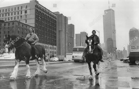 Richard Wrigley Butcher And Peter Myers Brewer Both Riding Horses On Banks Of The Hudson New York. They Are British Businessmen Who Have Exported Their Trades 1984.