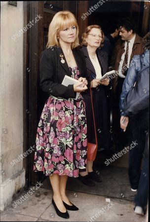 Stock Photo of Actress Sue Upton At Memorial Service For Comedian Benny Hill.