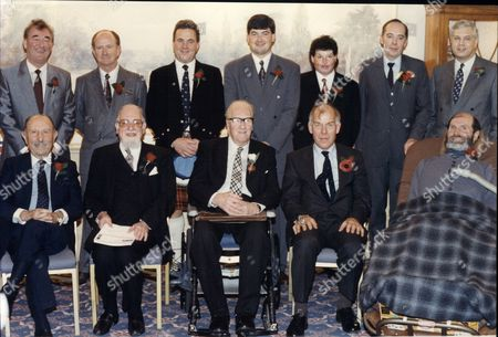 Men Of The Year Awards - 1991 - L-r Back Row: Brian Clough Ron O'brien James Angus Dougal John Parrott Paul Chapman Roger Cooper And John Simpson. L-r Front Row: Lord Forte Lord Jakovobits The Duke Of Buccleuch Gen Sir Peter De La Billiere John Prestwich.