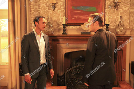 Declan Macey [Jason Merrels] and Dermott Macey [FRANK Kelly]get nervous as Jai Sharma [Chris Bisson] arrives to say goodbye to Mia Macey [Sapphire Elia] – Will he tell her the truth?