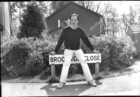 David Yip Actor By Street Sign From Tv Soap Opera Brookside 1989.