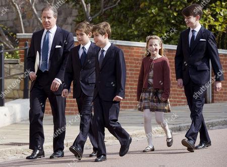 Viscount David Linley, Charles Armstrong-Jones, Arthur Chatto, Samuel Chatto and Margarita Armstrong-Jones