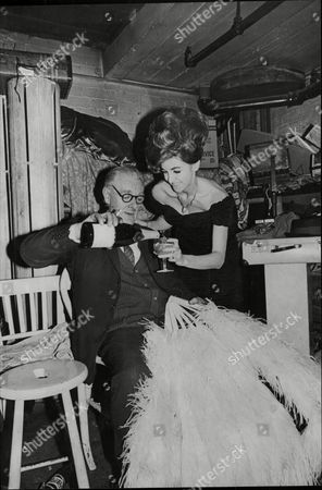 Cyril Hamilton And Serena Armitage Of The Windmill Theatre Share A Drink On The Theatre's Closing Night 1964.
