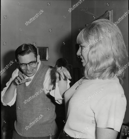 Don Groollman Bongo Player Here At Party For Pop Star Pj Proby (not Pictured) With Fan Wendy Mayerck 1964.