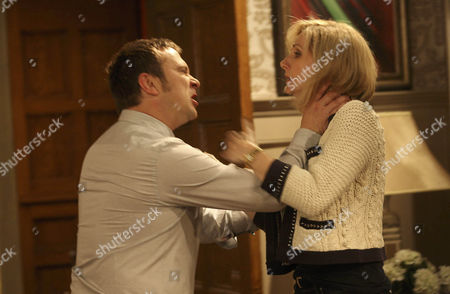 Declan Macey [Jason Merrells]  manhandles Ella Hart [Corrine Wickes] out of the door – Mia Macey [Sapphire Elia]  and Dermott Macey [Frank Kelly] look on.