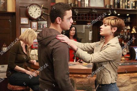 Ella Hart [Corrinne Wickes] is humiliated when Mia Macey [Sapphire Elia]  announces her and Adam Barton [Adam Thomas] affair to the pub - she then knees Adam in the crotch.
