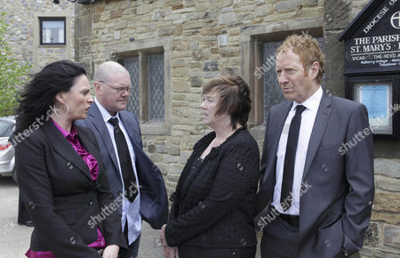 The day of Jackson's funeral - Hazel Rhodes [Pauline Quirke]  is close to losing it outside the church - Jerry Walsh [Michael J Jackson] and Chas Dingle [Lucy Pargeter]  give her a mouthful.
