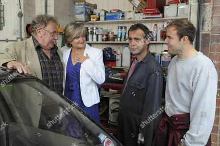 Bill Webster [Peter Armitage] and Pam Hobsworth [Kate Anthony]  tell Tyrone Dobbs [Alan Halsall] and Kevin Webster [Michael Le Vell] they are getting married.