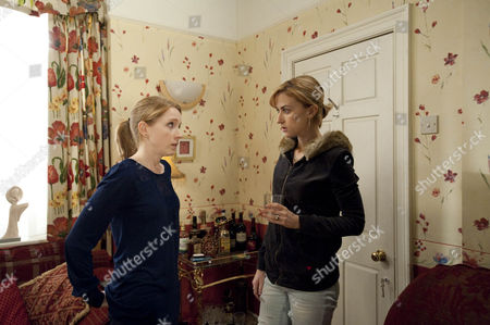 Claire Peacock [Julia Haworth] tells Becky McDonald [Katherine Kelly]  that she's to blame for what happened to Tracy.