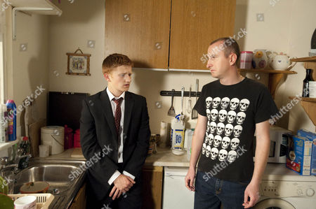 Chesney Battersby-Brown [Sam Aston] is stunned when Kirk Sutherland [Andrew Whyment] tells him that Schmeichel really ill.