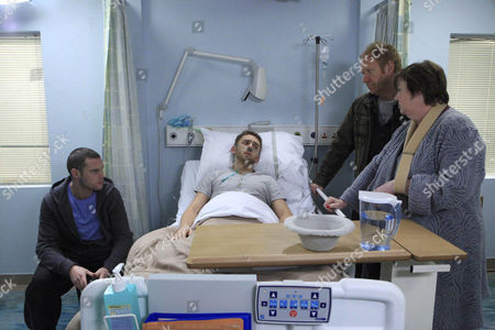 Stock Image of Hazel Rhodes [Pauline Quirke], Aaron Livesy [Danny Miller]  and Jerry Walsh [Michael J Jackson] worry about Jackson Walsh [Mark Silcock].